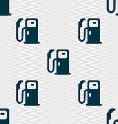 Fuel icon sign seamless pattern with geometric vector