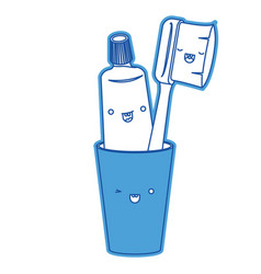 glass with toothpaste and toothbrush male kawaii vector image