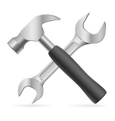 hammer and wrench on white background for design vector image