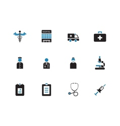 Hospital duotone icons on white background vector