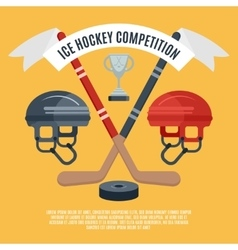 Ice hockey competition flat poster vector