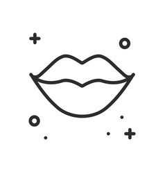 lips kiss line icon woman lips contour sign and vector image