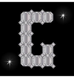 Metal letter G Gemstone Geometric shapes vector image