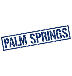 Palm springs blue square stamp vector