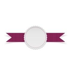 Sale label template on purple ribbon vector