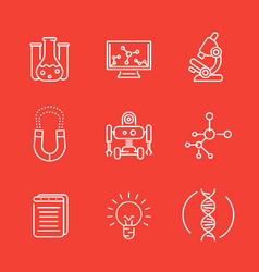 Science line icons research study laboratory vector