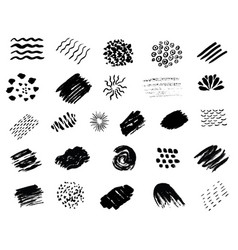 Set of black paint grunge brush strokes vector