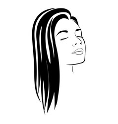 sketch female face silhouette with long hairstyle vector image