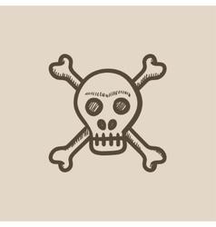 Skull and cross bones sketch icon vector