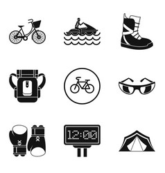 Sport weekend icons set simple style vector