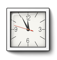 square wall clock in white body with black edging vector image vector image
