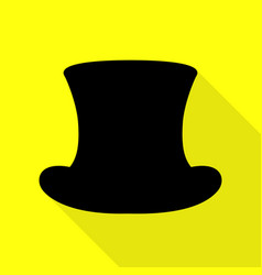 Top hat sign black icon with flat style shadow vector