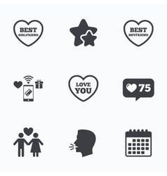 Valentine day love icons Best girlfriend vector image