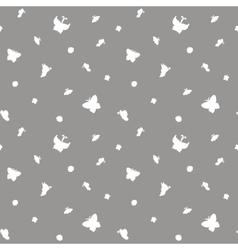 White butterflies seamless pattern vector