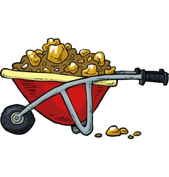With gold nuggets trolley vector