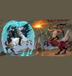 Xafighting scene between dark elf and centaur vector