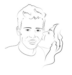Girl kissing boy on the cheek vector