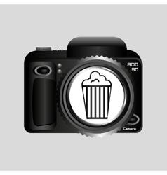 Digital photo camera pop corn pin vector