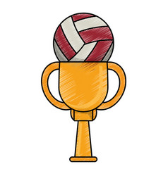 Drawing volleyball winner cup prize vector