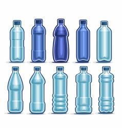 Set blue plastic bottles vector
