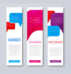 Set of web banners with colored bubbles talking vector