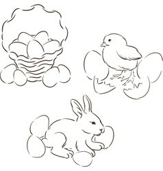 Happy Easter set of hand drawn characters vector image