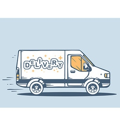 Van free and fast delivering lettering de vector
