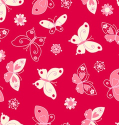 Butterfly and flowers seamless pattern vector