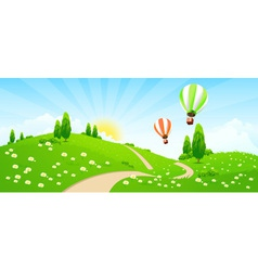 Green landscape with road flowers trees vector
