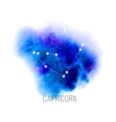 Astrology sign capricorn on watercolor background vector
