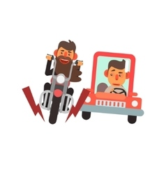 Traffic code motorcycle and car vector
