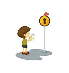 Boy and a sign vector image