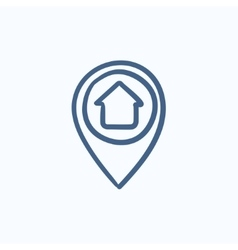 Pointer with house inside sketch icon vector