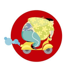 Fun vespa delivery man in asian style vector