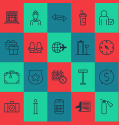 Airport icons set with money trasnfer armchair vector