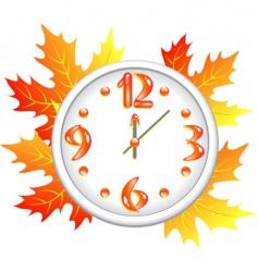 Autumn time clock vector