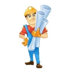 builder or handyman in helmet with construction vector image vector image