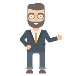 Businessman giving thumb up vector image
