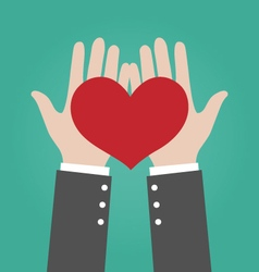 Businessman Hands Giving Red Heart Love Concept vector image vector image