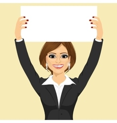 businesswoman holding white blank board vector image vector image