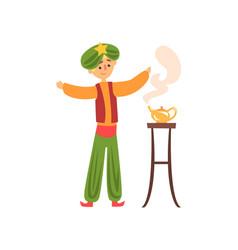 cartoon man summons genie from magic golden lamp vector image