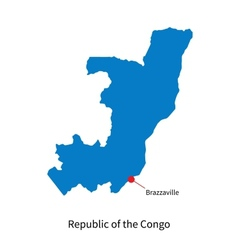 Detailed map of republic of the congo and capital vector