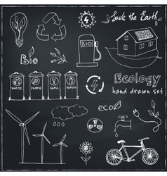 Ecology and recycle doodle icons set vector image