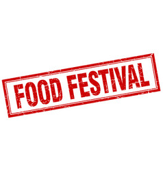 Food festival red grunge square stamp on white vector
