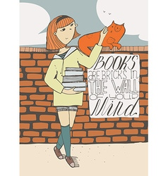 Girl with books caress a cat on brick wall vector