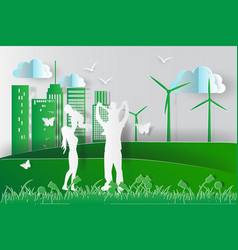green environment happy family having fun playing vector image vector image