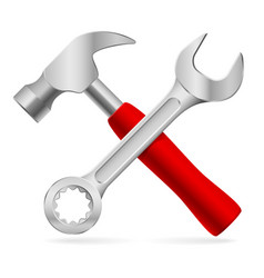 hammer and wrench on white background vector image