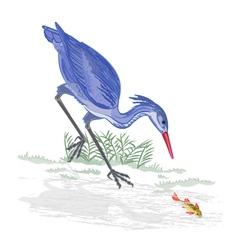 Heron and fish vector