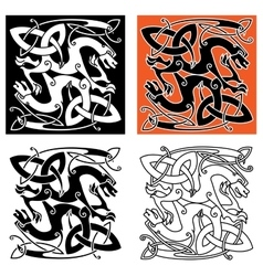 Intricate celtic mystical dragon animals vector