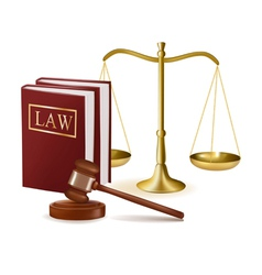 Judge gavel with law books and scales vector